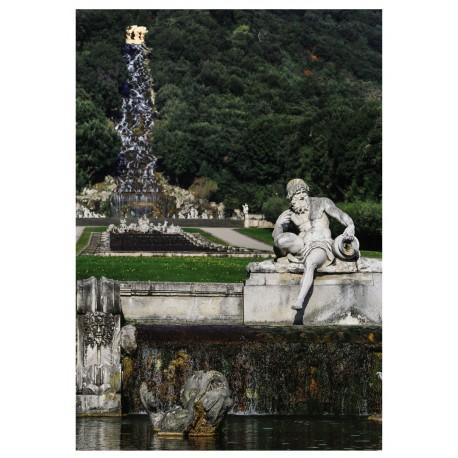 Cartolina Reggia di Caserta - Fontana di Cecere e fontana di Venere e Adone.