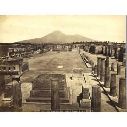 Veduta della Piazza col Foro civile di Pompei - Fotografia originale d`epoca, fine `800