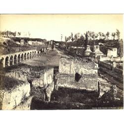 Strada delle Tombe di Pompei - Fotografia originale d`epoca, fine `800