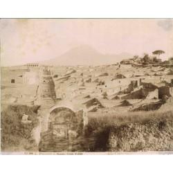 Panorama di Pompei, Strada Stabbia - Fotografia originale d`epoca di fine `800